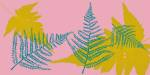 Colourful fern design printed on a textile screen for decorating exterior spaces in gardens